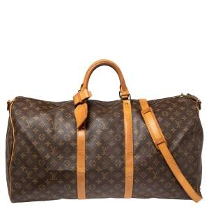 Louis Vuitton Monogram Canvas And Leather Keepall Bandouliere 60 Bag