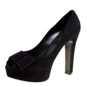 حذاء كعب عالي لوي فيتون نعل سميك تفاصيل فيونكة مقدمة مفتوحة سويدي أسود مقاس 39.5