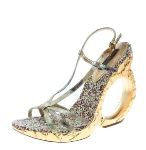 Louis Vuitton Multicolor Brocade Fabric Feerique Morganne Wedge Strappy Sandals Size 36