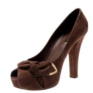 Louis Vuitton Brown Suede Catania Peep Toe Platform Pumps Size 40