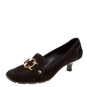 Louis Vuitton Brown Suede Loafer Pumps Size 36.5