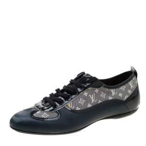 Louis Vuitton Blue Leather And Grey Monogram Canvas Lace Up Sneakers Size 38.5