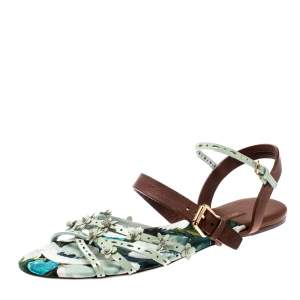 Louis Vuitton Two Tone Patent Leather And Leather Flat Sandals Size 39.5