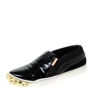حذاء رياضي لوي فيتون سليب أون مرصع جلد لامع و سويدي أسود مقاس 36.5