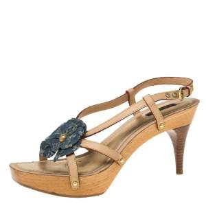 Louis Vuitton Beige/Blue Monogram Denim Floral Platform Strappy Sandals Size 39.5