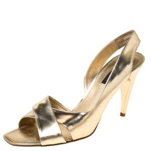 Louis Vuitton Gold Patent Leather Barbara Criss Cross Slingback Sandals Size 36.5