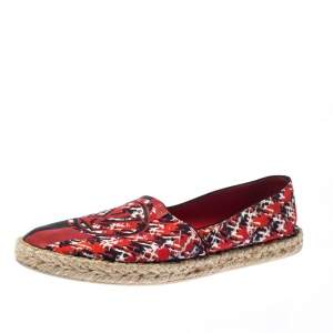 Louis Vuitton Red Abstract Print Fabric Slip On Espadrilles Size 37