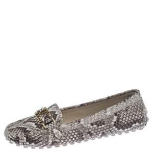 حذاء لوفرز لوي فيتون شعار الماركة سليب أون جلد ثعبان بيج و بني مقاس 39