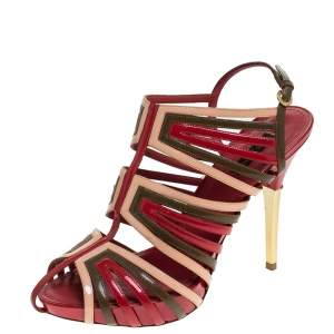 Louis Vuitton Multicolor Patent Leather Strappy Sandals Size 39