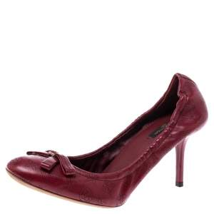 Louis Vuitton Red Monogram Perforated Leather Elba Pumps Size 38.5