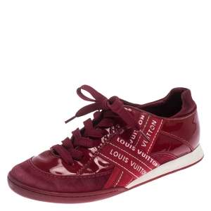 Louis Vuitton Red Patent Leather, Suede And Fabric Logo Sneakers Size 37