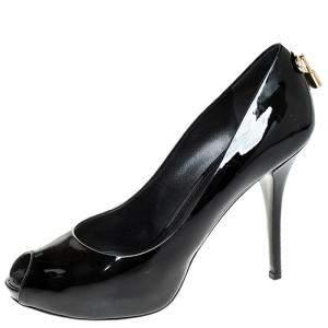 Louis Vuitton Black Patent Leather Oh Really! Peep Toe Platform Pumps Size 40