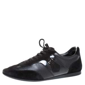 Louis Vuitton Black Leather and Suede Lace Low Top Sneakers Size 40