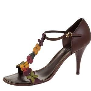 Louis Vuitton Brown Leather Aubepine Floral T-Strap Sandals Size 39.5