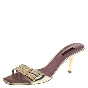 Louis Vuitton Gold Leather Open Toe Sandals Size 39