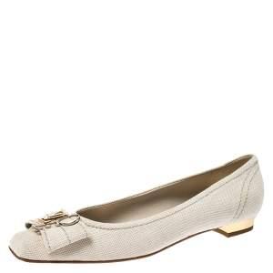 Louis Vuitton Off-White Canvas Love Logo Ballet Flats Size 39