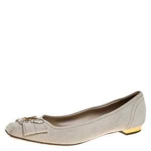 Louis Vuitton Off-White Canvas Love Logo Ballet Flats Size 39.5