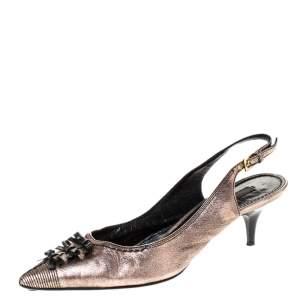 Louis Vuitton Metallic Bronze / Black Leather Bow Detail Pointed Toe Slingback Sandals Size 38