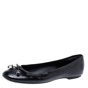 """حذاء باليرينا فلات لوي فيتون """"ديبي"""" مزين بفيونكة جلد إيبي أسود مقاس 38.5"""