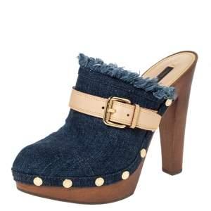 حذاء سلايد كلوغ لوي فيتون مرصع و مزين بإبزيم  و بنعل سميك دنيم أزرق مقاس 36.5