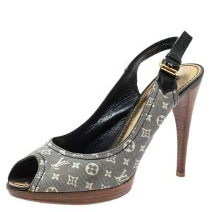Louis Vuitton Blue/White Min Lin Monogram Canvas and Patent Slingback Sandals Size 39.5