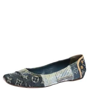 Louis Vuitton Blue Monogram Denim Ballet Flats Size 37.5