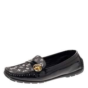 Louis Vuitton Black Patent And Mini Lin Monogram Canvas Loafers Size 37.5