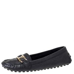 Louis Vuitton Black Textured Leather Oxford Loafers Size 40