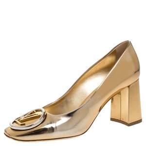 Louis Vuitton Gold Metallic Foil Leather Madeleine Square Toe Pumps Size 37.5