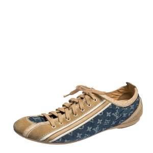 Louis Vuitton Blue/Beige Monogram Denim and Crocodile Impulsion Sneakers Size 40.5