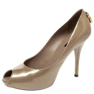 Louis Vuitton Beige Patent Leather Oh Really! Peep Toe Platform Pumps Size 39.5