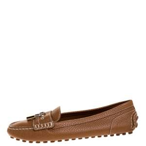 Louis Vuitton Brown Leather Close Up Loafers Size 37