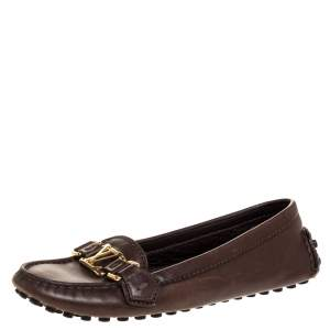 Louis Vuitton Dark Brown Leather Oxford Loafers Size 36