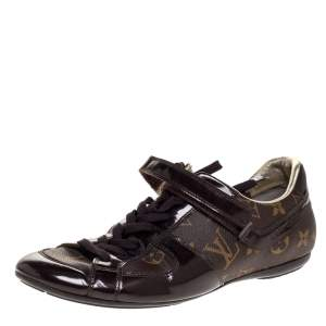 Louis Vuitton Brown Patent Leather And Monogram Canvas Lace Up Sneakers Size 38