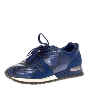 Louis Vuitton Blue Python, Pony Hair and Suede Run Away Lace Up Sneakers Size 36.5