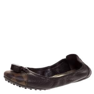 Louis Vuitton Brown Leather Canvas Scrunch Ballet Flats Size 38