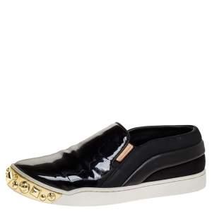 """حذاء رياضي لوي فيتون """"تيمبو"""" بطراز سليب أون و مرصع ذهبي جلد و جلد لامع أسود مقاس 35.5"""