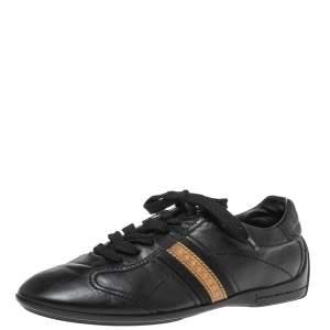 Louis Vuitton Black Leather Monogram Logo Bastia Sneakers Size 36.5