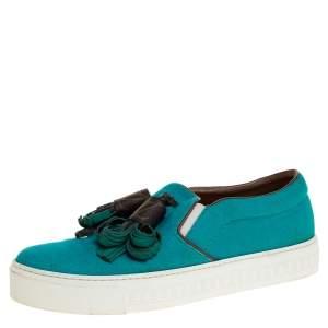 Louis Vuitton Turquoise Canvas and Monogram Canvas Tassel Destination Slip On Sneakers Size 39