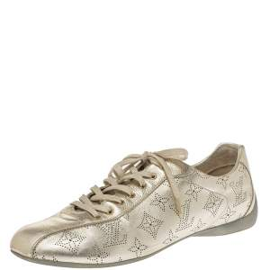 Louis Vuitton Metallic Gold Mahina Leather Trainers Sneakers Size 40.5