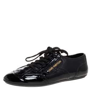 Louis Vuitton Black Patent Leather 'Lyrics' Brogue Sneakers Size 39