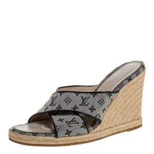Louis Vuitton White/Blue Monogram Canvas Espadrille Wedge Sandals Size 39