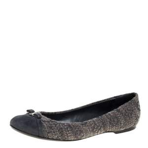 Louis Vuitton Grey Suede and Tweed Ballet Flats Size 40
