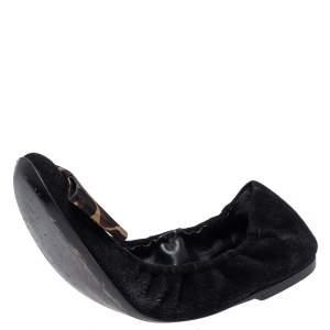 Louis Vuitton Black Suede Leopard Print Fabric Bow 'Mimi' Ballerina Flats Size 37.5