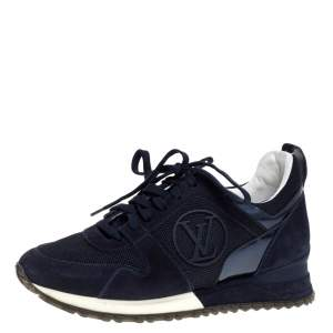 Louis Vuitton Navy Blue Suede and Mesh Run Away Lace Up Sneakers Size 35