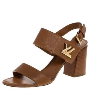 Louis Vuitton Brown Leather Horizon Slingback Sandals Size 40