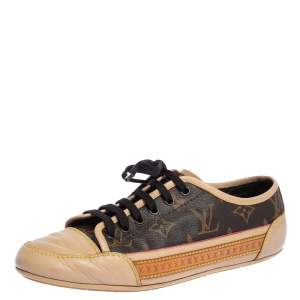 Louis Vuitton Beige Leather And Brown Monogram Canvas Capucine Sneakers Size 37.5