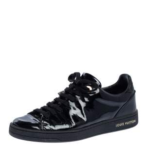 Louis Vuitton Black Patent Leather Frontrow Low Top Sneakers Size 35