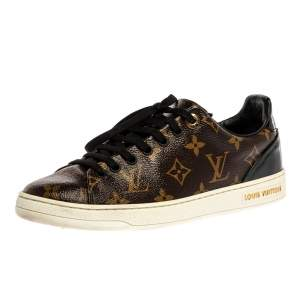 Louis Vuitton Brown Monogram Canvas And Patent Leather Frontrow Low Top Sneakers Size 37.5