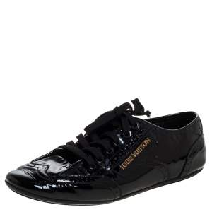 Louis Vuitton Black Patent Brogue Leather Lyrics Lace Up Sneakers Size 38